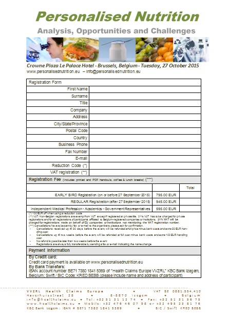 Registration form Personalised Nutrition